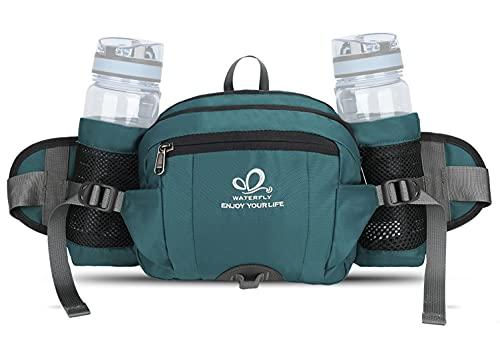 Waterfly Marsupio Trekking Impermeabile con Portabottiglia per Escursionismo, Corsa, Campeggio, Arrampicata, Viaggio e Ciclismo per Uomo e Donna (Verde)