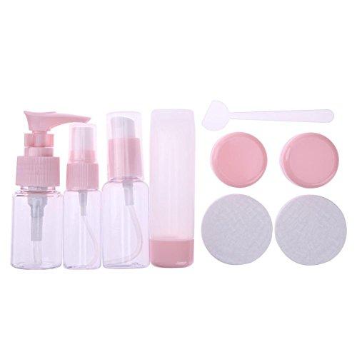 La Cabina 9pcs / Set Bouteilles en Plastique Stockage de Maquillage pour Voyage Récipient Presse de Crème Lotion Rose