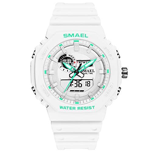 QZPM Relojes Deportivos Digital para Hombre, con Retroiluminación Alarma 50M Resistente Al Agua Multifuncional Grande De La Cara Militar Relojes Electrónicos,Blanco