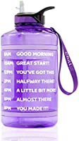 ChillXX Large Motivational Water Bottle with Times to Drink (2.2 & 3.78 Litre) - Daily Water Bottle with Straw - Time...