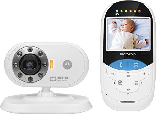 """Motorola MBP27T - Vigilabebés vídeo con pantalla a color de 2.4"""" y termómetro, color blanco"""