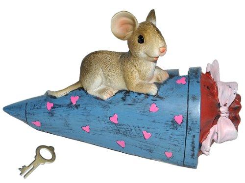 alles-meine.de GmbH Spardose  Maus Schultüte / Zuckertüte  - mit Schlüssel - stabile Sparbüchse aus Kunstharz - für Schulanfang Mäuse Geld - ABC Schütze - Schulanfänger - Schul..