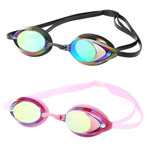 DARIDO Swim Goggles,2.0 Mirrored Swimming Goggles Anti Fog UV Protection No Leaking,Best Clear Vision Competition Training Swim Goggles of 2 Pack for Adult,Men,Women,Youth,Kids