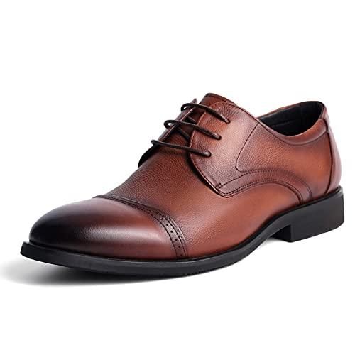 Sdmcdamzzy Zapatos de Vestir para Hombre con Punta de Casquillo Zapatos de Vestir Formales de Oxford de Negocios de Cuero clásico para Boda Brown-US8/EU41