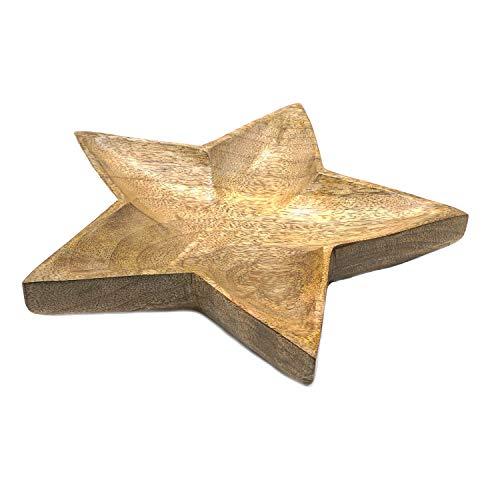 Gebäckteller Sterne Schale aus Mangoholz 17cm Ø ca. 3,5cm hoch mit Filzfüßen Weihnachten Snackschale