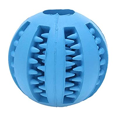 Wolfhowl Dog Toy Ball, Dog Treat Ball, Dog Balls Pet Bite Toy, Chew Ball Toy Cleaning Teeth Multifunction for Pet Dogs, Interactive Toy Ball Feeder Chew Tooth Cleaning Ball (Blue, 7 cm)
