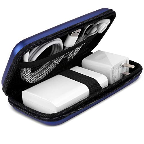 iMangoo Shockproof Carrying Case Hard Protective EVA Case Impact Resistant Travel 12000mAh Bank Pouch Bag USB Cable Organizer Earbuds Sleeve Pocket Accessory Smooth Coating Zipper Wallet Navy Blue