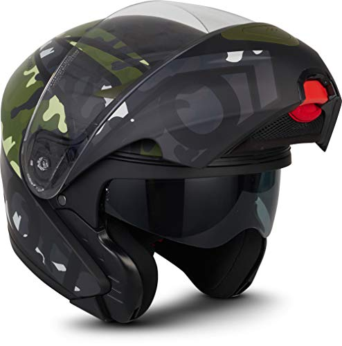 MOTO Helmets - Casco da moto F19, con visiera parasole e chiusura rapida ECE