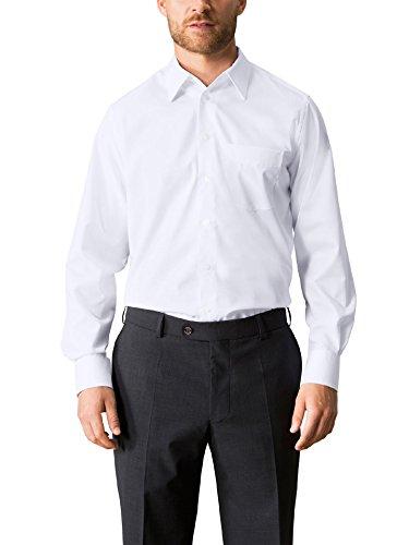 Walbusch Herren Hemd Bügelfrei Kragen ohne Knopf einfarbig Weiß 42 - Langarm