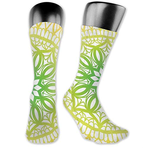 Socks Compression Medium Calf Crew Sock,Oriental Pattern With Blooming Flower Illustration Hand Drawn Sketch