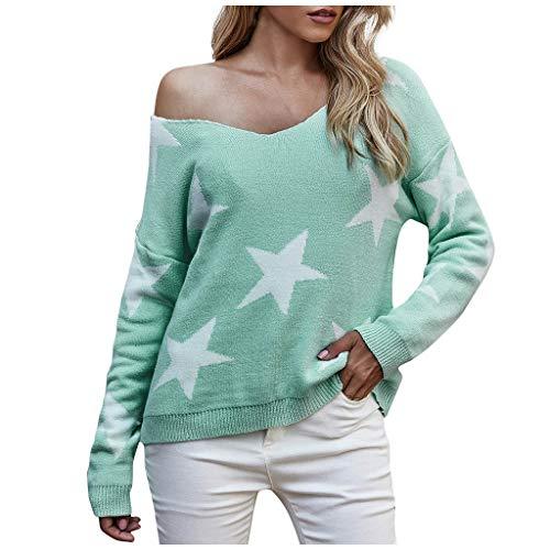 EUCoo Las mujeres de moda cuello en V Pentagrama impresión cómodo manga larga suéter Tops