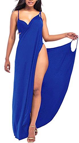 Rolansica Damen Strandkleid Wickelkleid Badeanzug Mehrfachverschleiß leicht schnell trocken leicht Blue 5XL