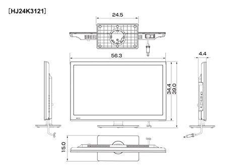 『ハイセンス 24V型 液晶 テレビ HJ24K3121 ハイビジョン 外付けHDD裏番組録画対応 メーカー3年保証 2017年モデル』の6枚目の画像