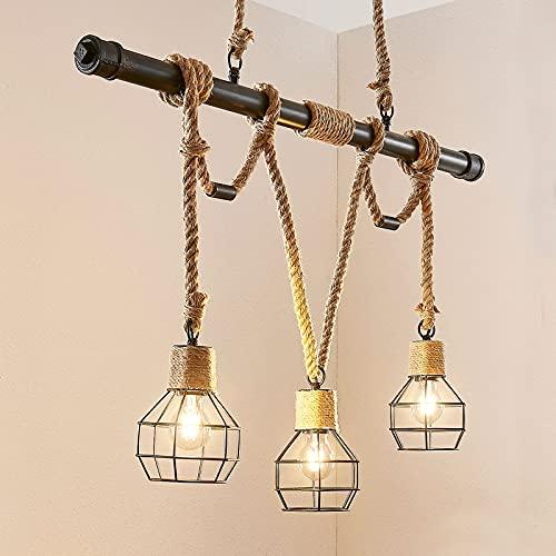 Lámpara colgante 'Ventura' (Vintage) en Negro hecho de Metal e.o. para Salón & Comedor (3 llamas, E27, A++) de Lindby | lámpara colgante, lámpara colgante, lámpara, lámpara de techo, lámpara de techo
