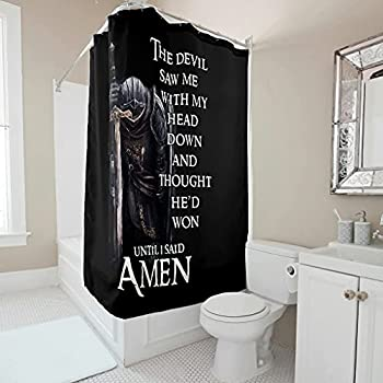 Fancy Cuteg Decorative Shower Curtain Christian Knight The Devil Saw Me Print Shower Curtains for Bathroom with 12 Hooks White 72x79inch