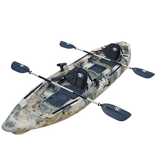 BKC TK122 Angler 12-Foot, 8 inch Tandem 2 or 3 Person Sit On Top Fishing Kayak w/Soft Padded Seats and Paddles (Green Camo) -  Brooklyn Kayak Company, TK122K-PARENT