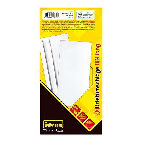 Idena 10219 - Briefumschläge DIN lang, 75 g/m², selbstklebend, ohne Fenster FSC-Mix, weiß, 25 Stück