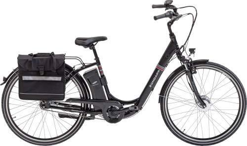 Zündapp E-Bike Alu-City Green 3.0 | 26 Zoll | inkl. 2. Akku + Packtasche | 250 W | Vorderradmotor | 36 V | SAMSUNG Akku | 11 Ah | Damen | 7-Gang SHIMANO Nabenschaltung | ca. 100 km | schwarz matt