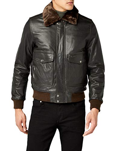 Schott Nyc - LC5331X, Giacca in pelle da uomo, Marron (Anthracite Brown), X-Large