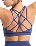 Hopgo Women's Sports Bra Low Impact Strappy Back Workout Bra Padded Yoga Bra Top Blue S US 6