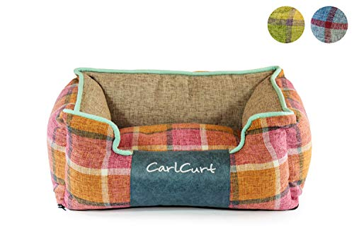 CarlCurt - Fashion Line: Kuschelweiches Hundebett Mit Angenehmen Weichen Kissen Und Strapazierfähigen Außenteil Aus Leinengwebe, S 58 x 48 x 22cm, Orange-Rot