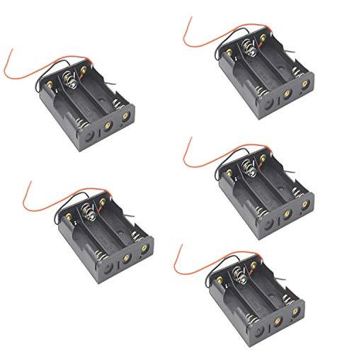 5 Stück Batteriehalter AA*3 / mit Anschlußkabel Batterie Halter aa*3 / Batteriehalter 4.5V / 1.5V*3 LR6 Aufbewahrungsbox