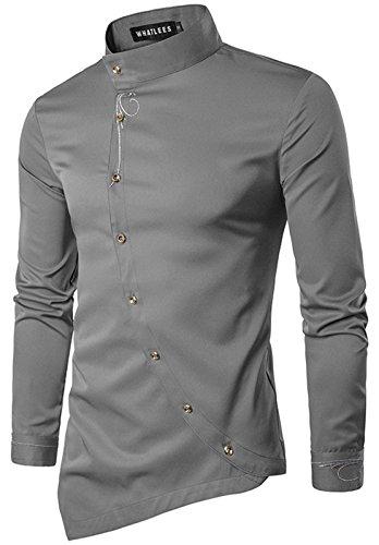 WHATLEES Herren urban Basic lang geschnittenes Hemd mit asymmetrisches und aufgesticktes Design Stehkragen B404-Gray-L