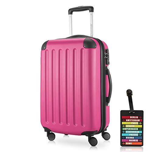 Hauptstadtkoffer - Spree Handgepäck Kabinentrolley Bordgepäck Hartschalen-Koffer, sehr leicht, TSA, 55 cm, 42L, Pink inkl. Design...