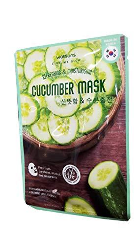 2 Mask sheets of Watsons Refreshing & Moisturising Cucumber Mask. Free from Parabens, Alcohol & Colourants. Bamboo Fabric Mask Sheet.Made in Korea. (30 Ml Essence/sheet)
