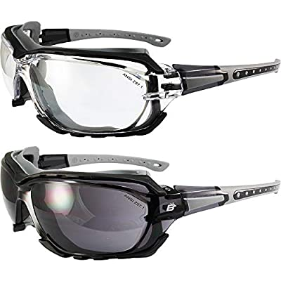 2 Pairs of Birdz Eyewear Gasket Safety Padded Motorcycle Sport Sunglasses Black-Grey Frame Smoke + Clear Lenses