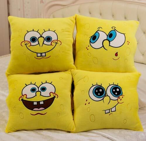 GSDJU 1pcs 34 * 34cm Cartoon Sponge Bob Plüschspielzeug Soft Spongebob Kissen KissenVier Modelle ausgewählt Werden könnenKinder Spielzeug