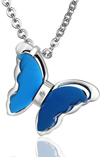 Abellale - Collar de Acero Inoxidable para Mujer, Colgante de Mariposa Hueca voladora CZ Azul
