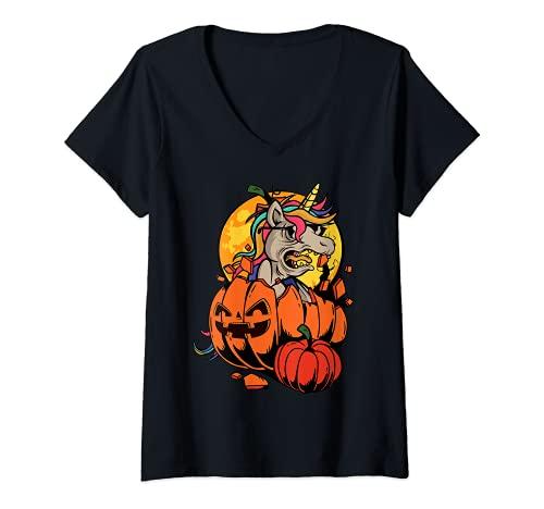 Mujer Camisa de Halloween Niñas Niños Mujeres Zombie Unicornio En Calabaza Camiseta Cuello V