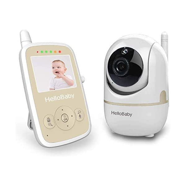 Hello Baby Video Monitor with Remote PTZ Camera, Video Baby Monitor with Audio Sensor, VOX, Sound Activation Alerts,2-Way Communication,Auto Night Vision,Digital Zoom,Room Temperature Monitoring