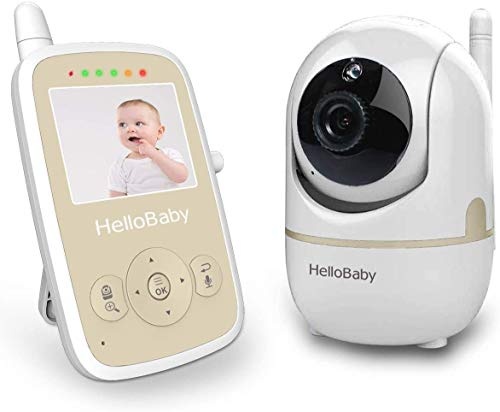 Hello Baby Video Monitor with Remote PTZ Camera, Video Baby Monitor with Audio Sensor, VOX, Sound Activation Alerts,2-Way Communication,Auto Night Vision,Digital Zoom,Room Temperature Monitoring Monitors