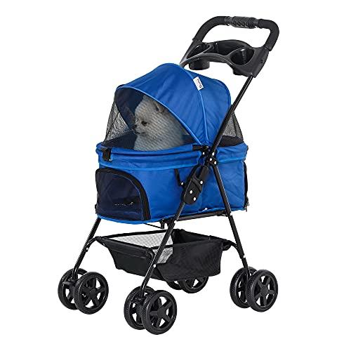 Pawhut Cochecito para Mascotas Plegable Carrito para Perros Desmontable Acero Tela Oxford Ruedas Giratorias Frenos Ventana para Perros Gatos Pequeñitos 67x45x96 cm Azul