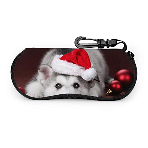 Cute Dog in Cap Santa Claus Sungs Cases for Women Mens Eyegs Case Light Portable Neoprene Zipper Soft Case Stylish Gses Case