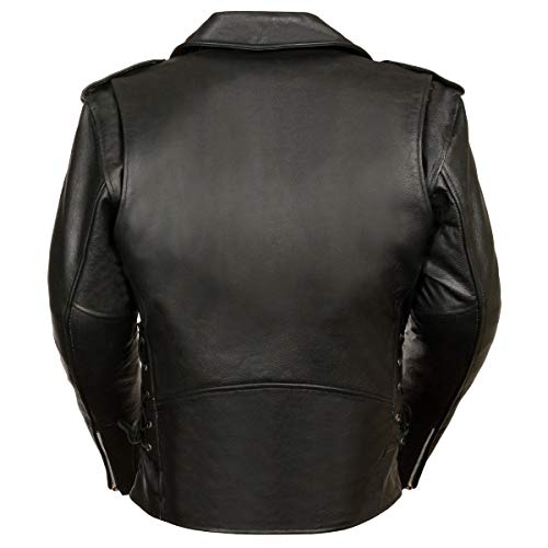 MILWAUKEE LEATHER Men's Classic Side Lace Police Style Motorcycle Jacket (SH1011-XL-BLACK)
