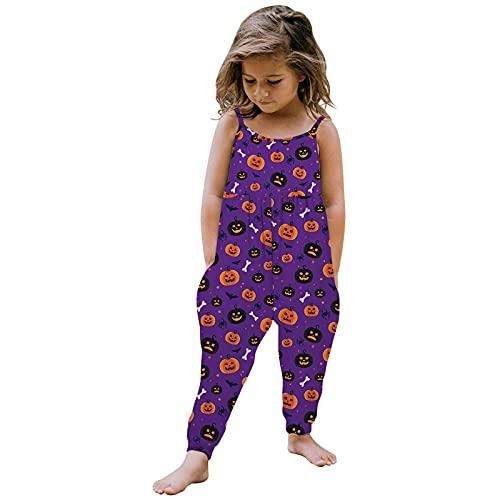 Baby Overall mit Strampler Riemen, Kinder Hosenträger Regenhose, Baby Mädchen Strampler Weihnachtshose mit Taschen, Haremshose mit Taschen, einteiliger Gurt Strampler, violett, 5-6 Jahre