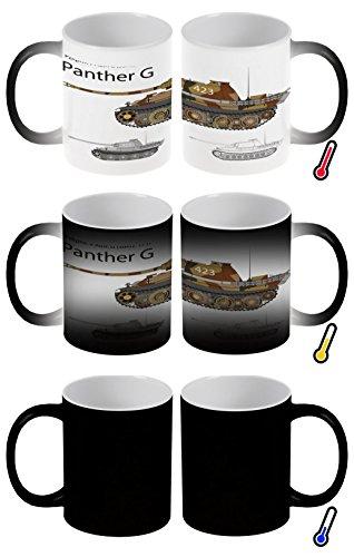 Zaubertasse Farbwechseltasse Kaffeebecher Tasse Becher Latte Cappuccino Espresso Retro Motiv Panzer Panther G