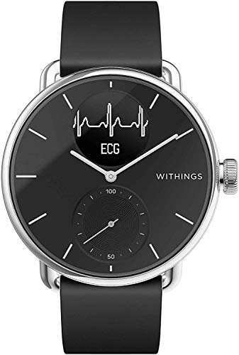 Withings Scanwatch 38 mm Nero, Hybrid Smart Watch with ECG, Heart Rate Sensor And Oximeter, SpO2, Sleep Tracking Unisex-Adult
