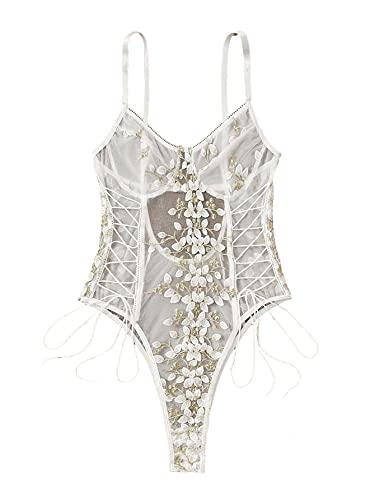 Lilosy Body de lencería sexy con encaje floral bordado de una pieza superior de malla transparente - blanco - S