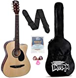 Intern INT-38C Acoustic Guitar Kit, With Bag, Strings, Pick And Strap, Natural