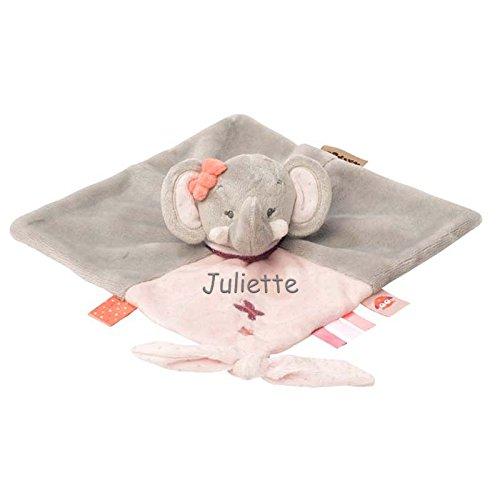 Nattou Schmusetuch Adela der Elefant bestickt des Vorname des Babys
