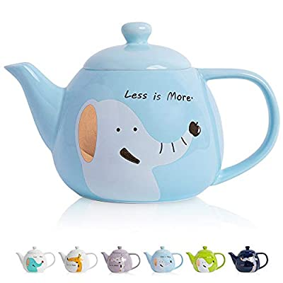 ThaiGEX Teapot, Porcelain Tea Pot with Stainless Steel Infuser, Blooming and Loose Leaf Ceramic Teapot (30 OZ / 900 ML), Blue Elephant