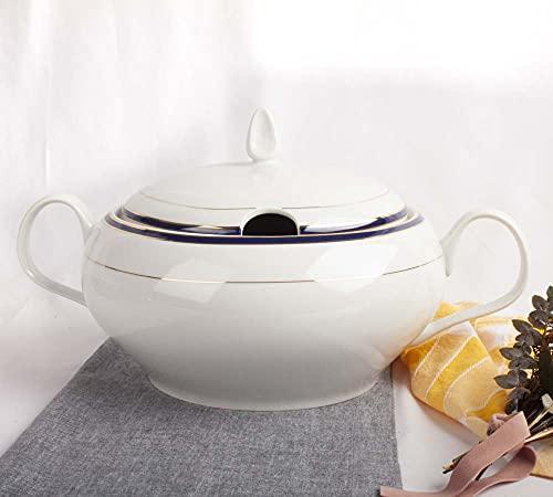 Franquihogar - Sopera de Porcelana con Tapa, Bowl para sopas Clásica con filo de oro azul cobalto y decoración 1L | Sonata