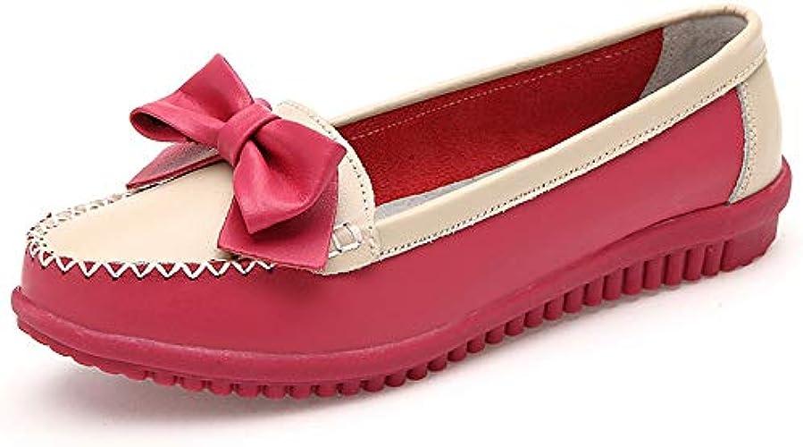 Chaussures Plates Femme,Vintage Original Round Toe Occasionnels Fermé Simple Glisser Sur Bow En Cuir Naturel Souple Confortable à Enfiler Semelle En Caoutchouc Souple Mocassins Chaussures Bateau Rouge