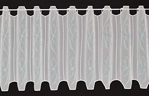 Vitrage met bloemen borduurwerk, 54 cm hoog   U kunt de breedte van de gordijnen in stappen van 16 cm kiezen   kleur: wit blauw/groen   keukengordijnen