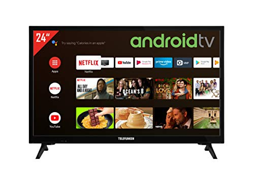Telefunken XH24AJ600V 24 Zoll Fernseher / Android TV (HD ready, HDR, Triple-Tuner, 12 Volt, Smart TV, Play Store, Google Assistant, Bluetooth) [Modelljahr 2021]