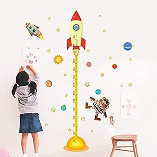 Muursticker ZOZOSO zonnestelsel hoogte meting muur Stickers voor kinderen kamers sterren ruimte buitenste hemel raket muur...